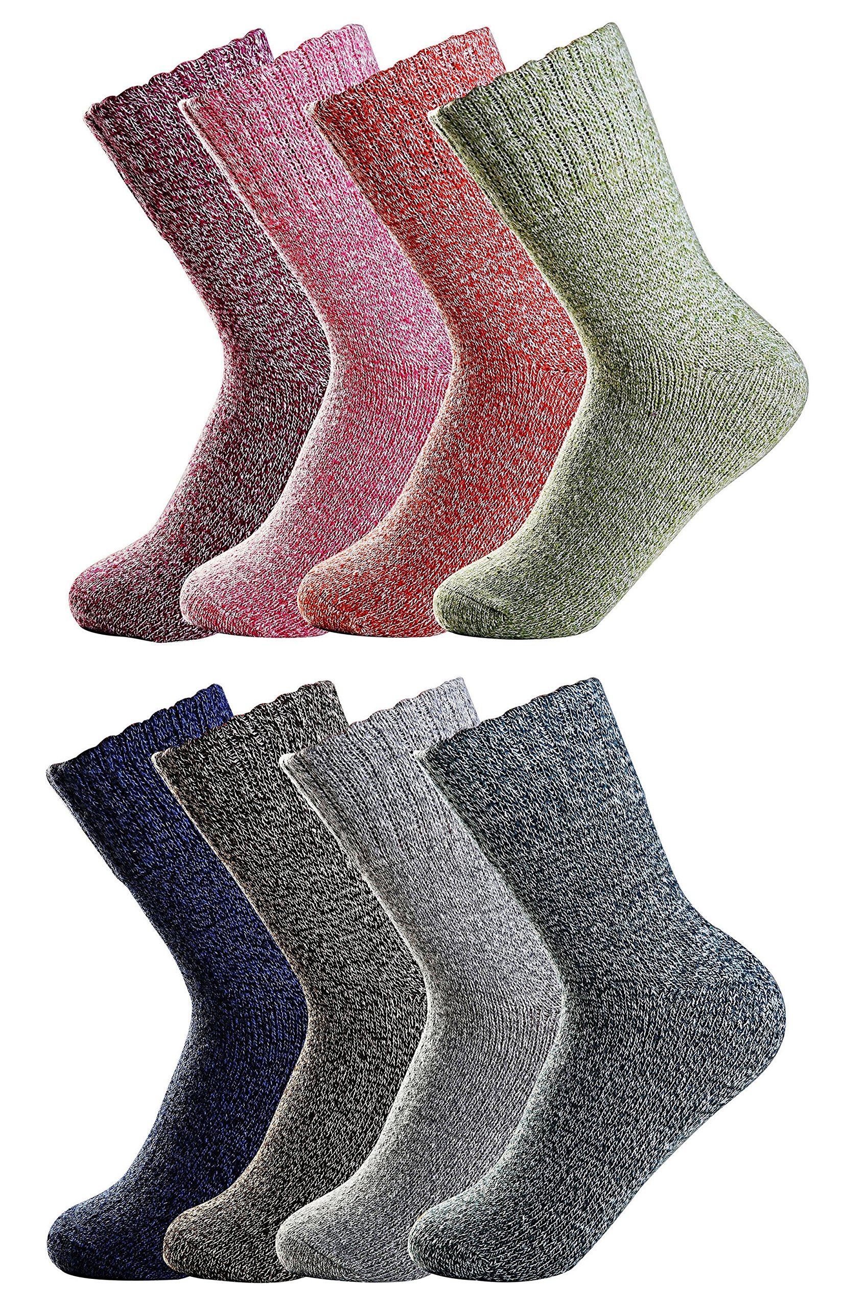 Luxina 8 Pairs Thick Wool Knitting Autumn Winter Warm Socks for Women (H: Pure Mixed Colors)