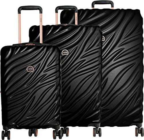 Delsey Alexis Lightweight Luggage Set 3 Piece, Double Wheel Hardshell Suitcases, Expandable Spinner Suitcase with TSA Lock and Carry On Black Rose Gold, 3-piece Set 21 25 29