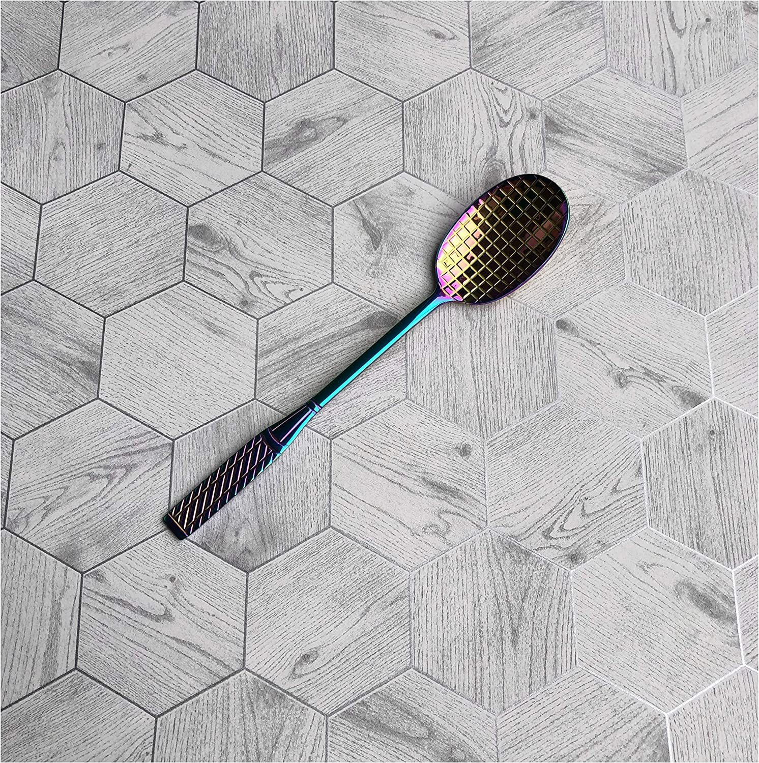 Iridescent Stainless Steel Tennis Racket Spoons Ball Sports Collectible Gift