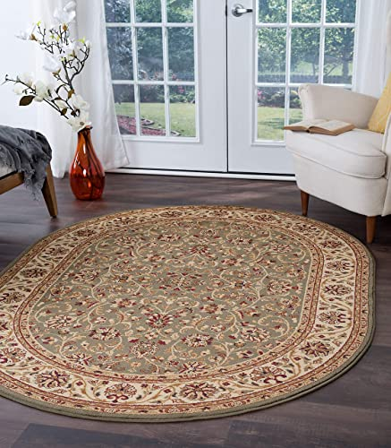 Ventura Transitional Oriental Green Oval Area Rug, 5 x 7 Oval