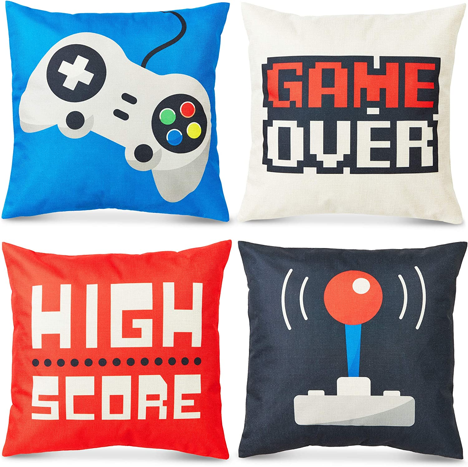 Juvale Decorative Throw Pillow Covers, Video Games (18 x 18 Inches, 4 Pack)