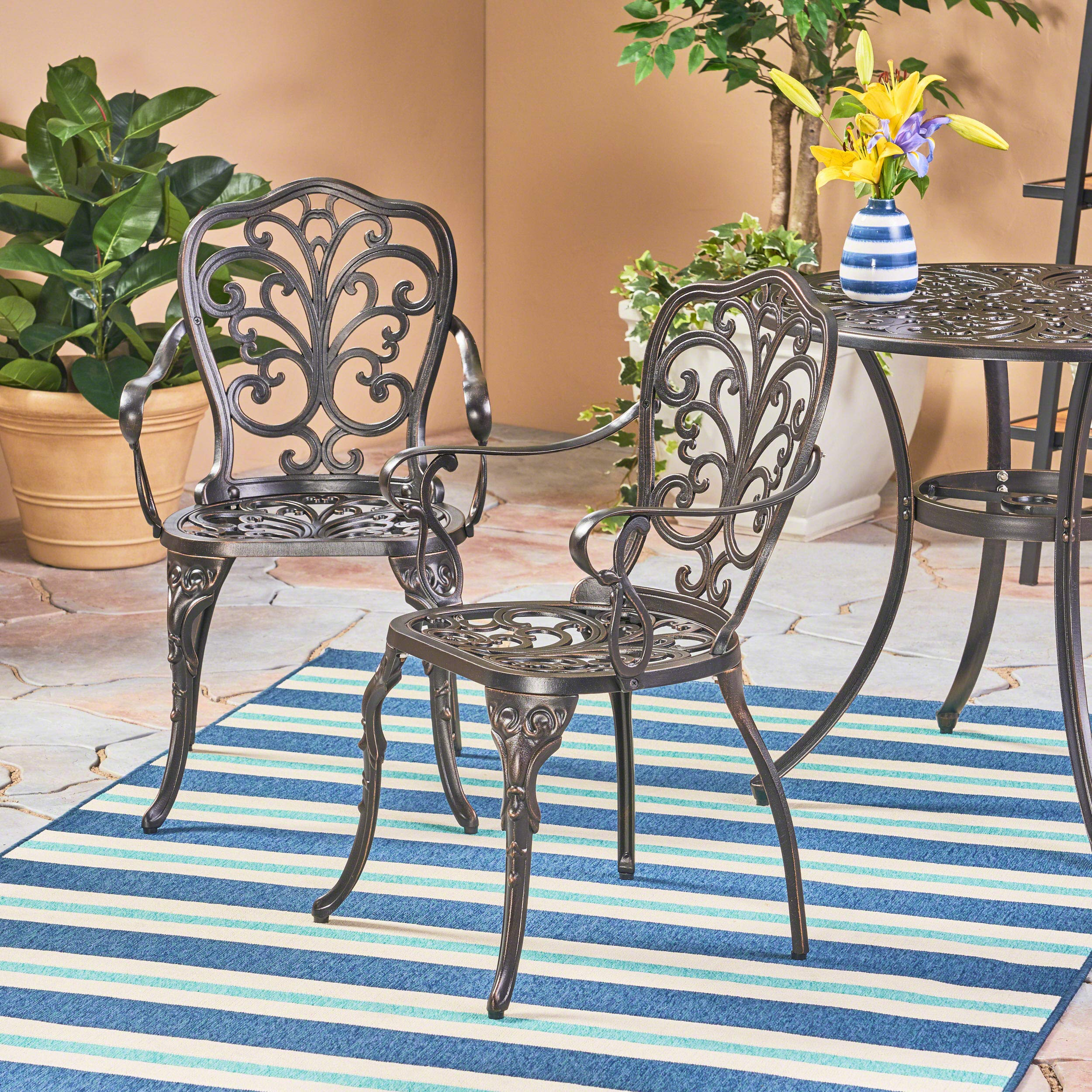 Christopher Knight Home Buddy Outdoor Cast Aluminum Dining Chair (Set of 2), Shiny Copper