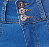 KAITUOZHE Women Mid Waisted Button Fly Blue Skinny