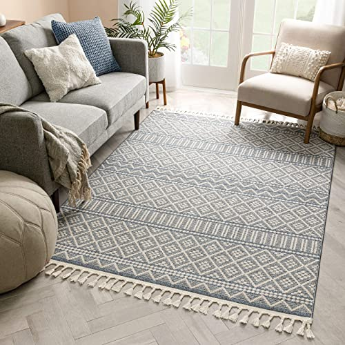Well Woven Ventova Denim Blue Tribal Geometric Area Rug 8×10 7 10 x 10 6