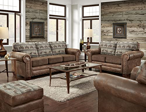 Sunset Trading Glorious 3 Piece Livingroom Set, Regal Brown