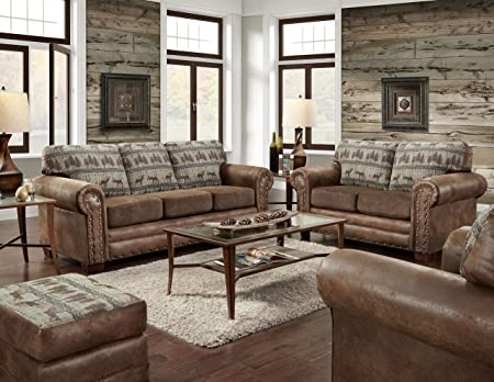 American Furniture Classics 4 Piece Set Including Sofa Sleeper, loveseat, Chair and Ottoman, Deer Teal Tapestry