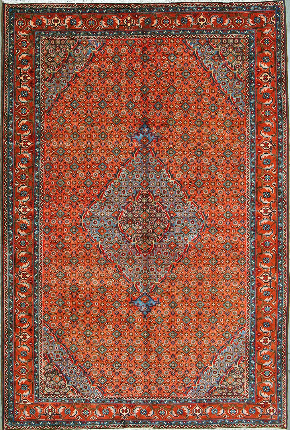 Armanrugs 6 8 X 9 10 Copper Red Brown Blue Ardabil Natural Wool Hand Knotted Genuine Persian Rug Kitchen Dining