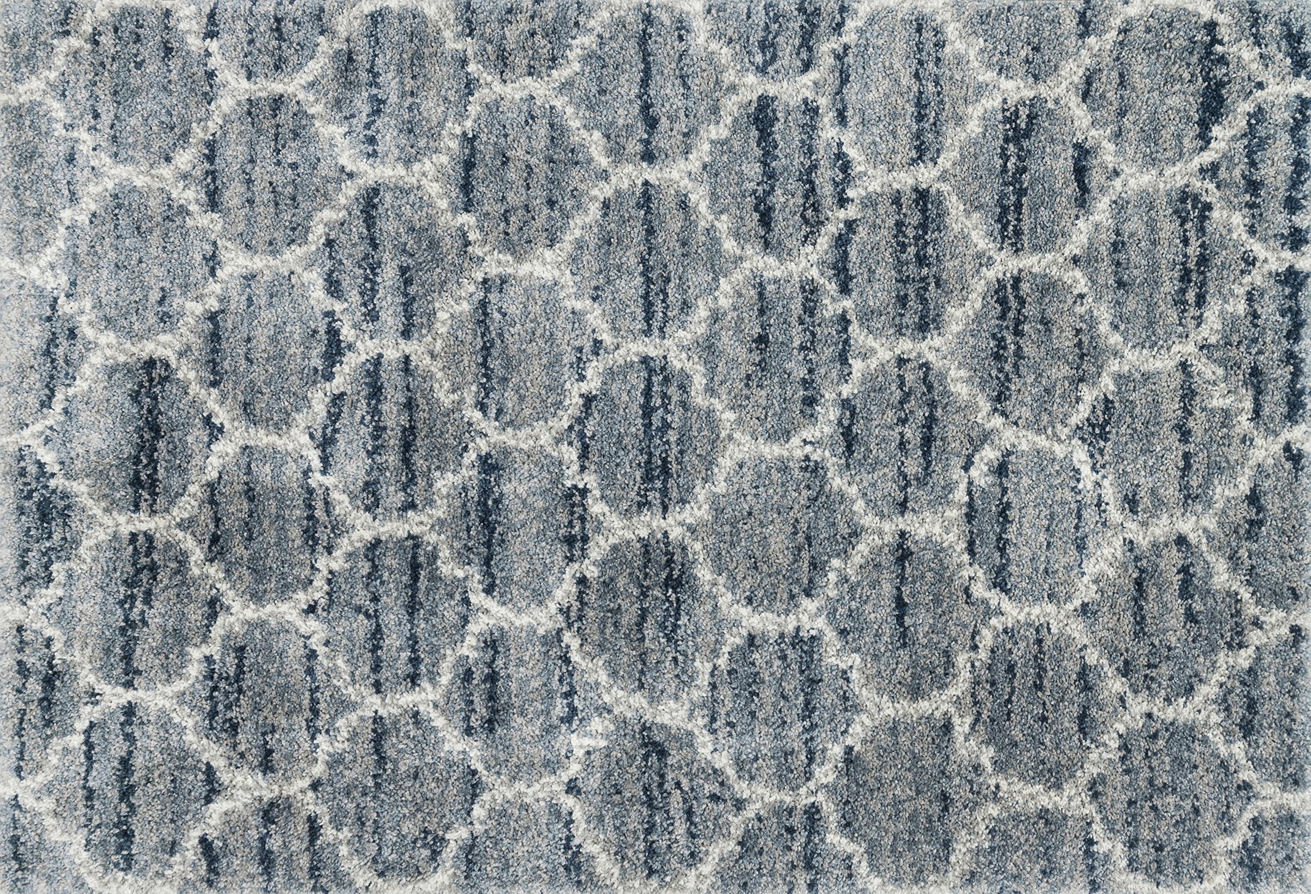 Loloi Rugs QNCYQC-03SPPP Quincy Shag Collection Area x 1'-6'', Spa/Pebble