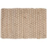 Jute Cotton Diamond Rug 2x3' Hand Woven Reversible Classic White Natural Rug,Kitchen Rugs, Farmhouse Rugs, Rugs for Living &