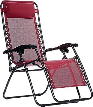 Basics Outdoor Zero Gravity Lounge Folding Chair Burgundy