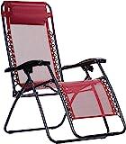 AmazonBasics Zero Gravity Reclining Lounge Portable Chair, Burgundy