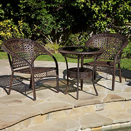 Malibu Patio Furniture ~ 3 Piece Outdoor Wicker Bistro (Chat) Set (Brown