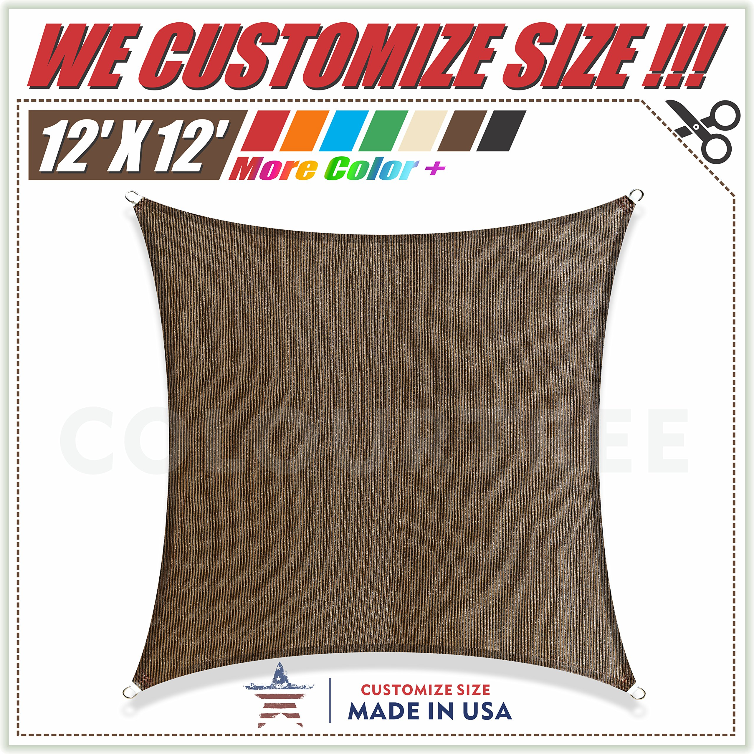 ColourTree 12'x12' Brown Sun Shade Sail Square Canopy We Customize x