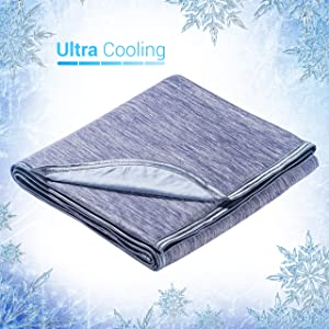 "Elegear Revolutionary Queen Size Cooling Blanket Absorbs Body Heat to Keep Adults, Children, Babies Cool on Warm Nights. Japanese Q-Max 0.4 Cooling Fiber,100% Cotton Backing Blanket- Blue, 78""x86"""