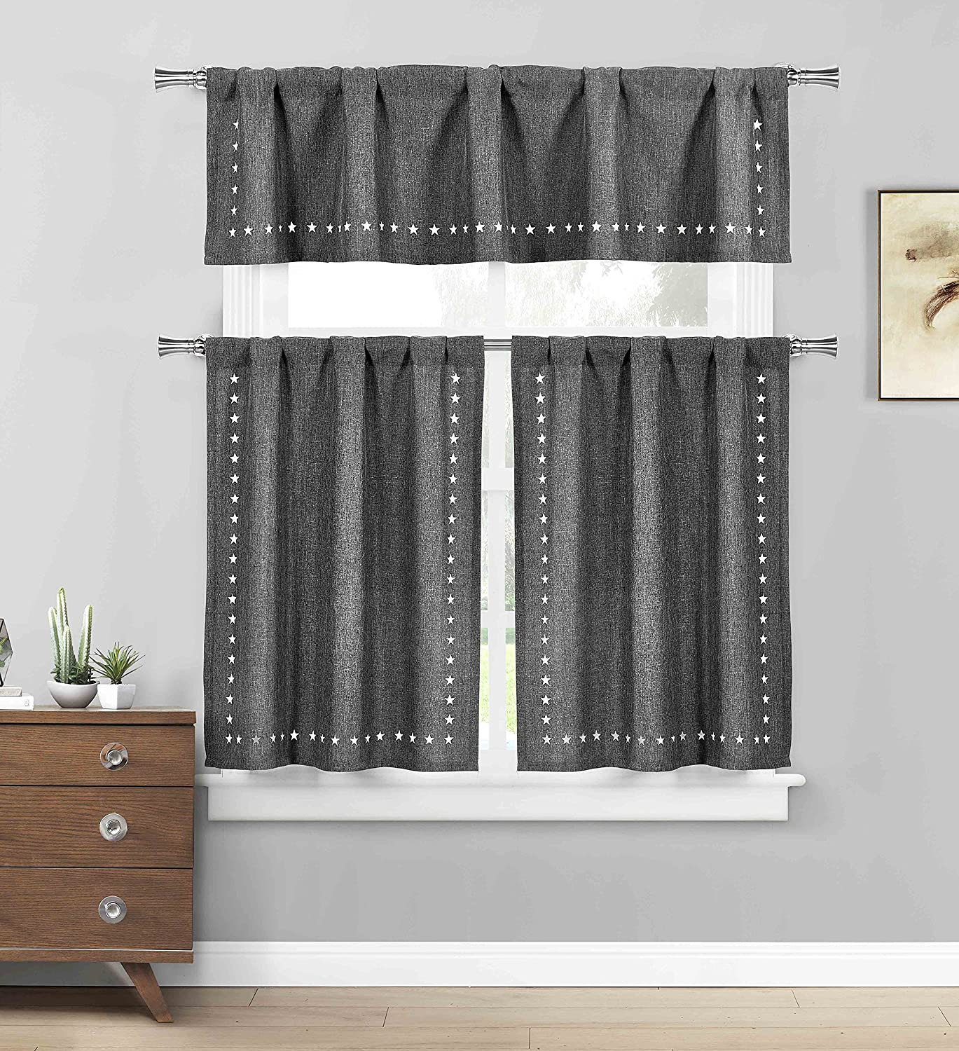 Three Piece Kitchen/Cafe Tier Window Curtain Set: Solid Color with Stars Cut-Out Pattern (Burgundy) Bathroom and More KWC-CONOR-12277-BURGUNDY