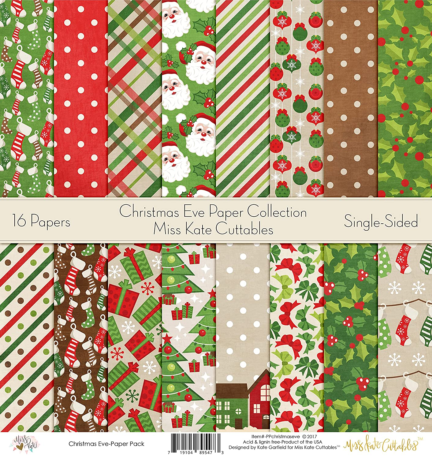Pattern Paper Pack - Christmas Eve - Scrapbook Card Stock Single-Sided 12x12 Collection Includes 16 Sheets - by Miss Kate Cuttables