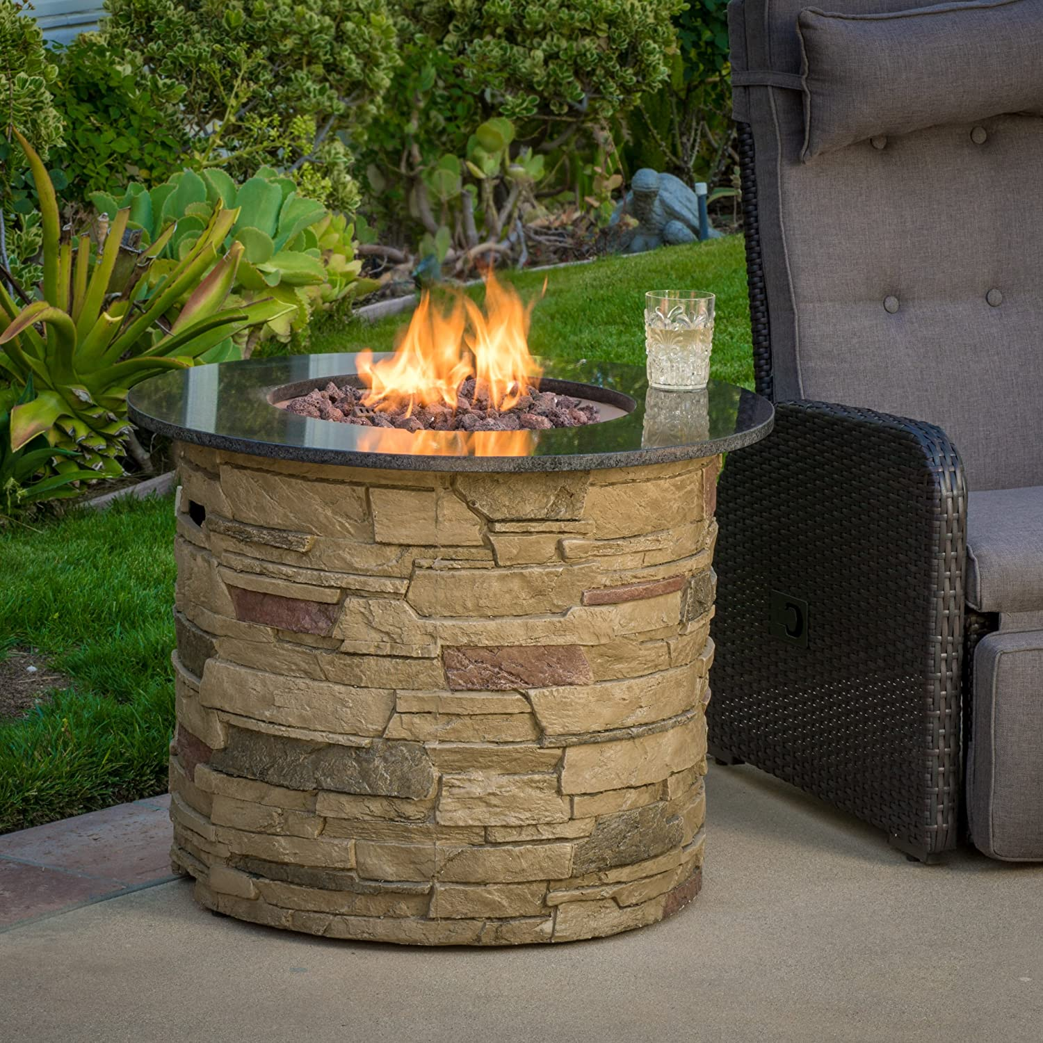 Christopher Knight Home 296658 Rogers Round Stone Fire Pit Table, 32 Propane Gas Patio Heater with Lava Rocks