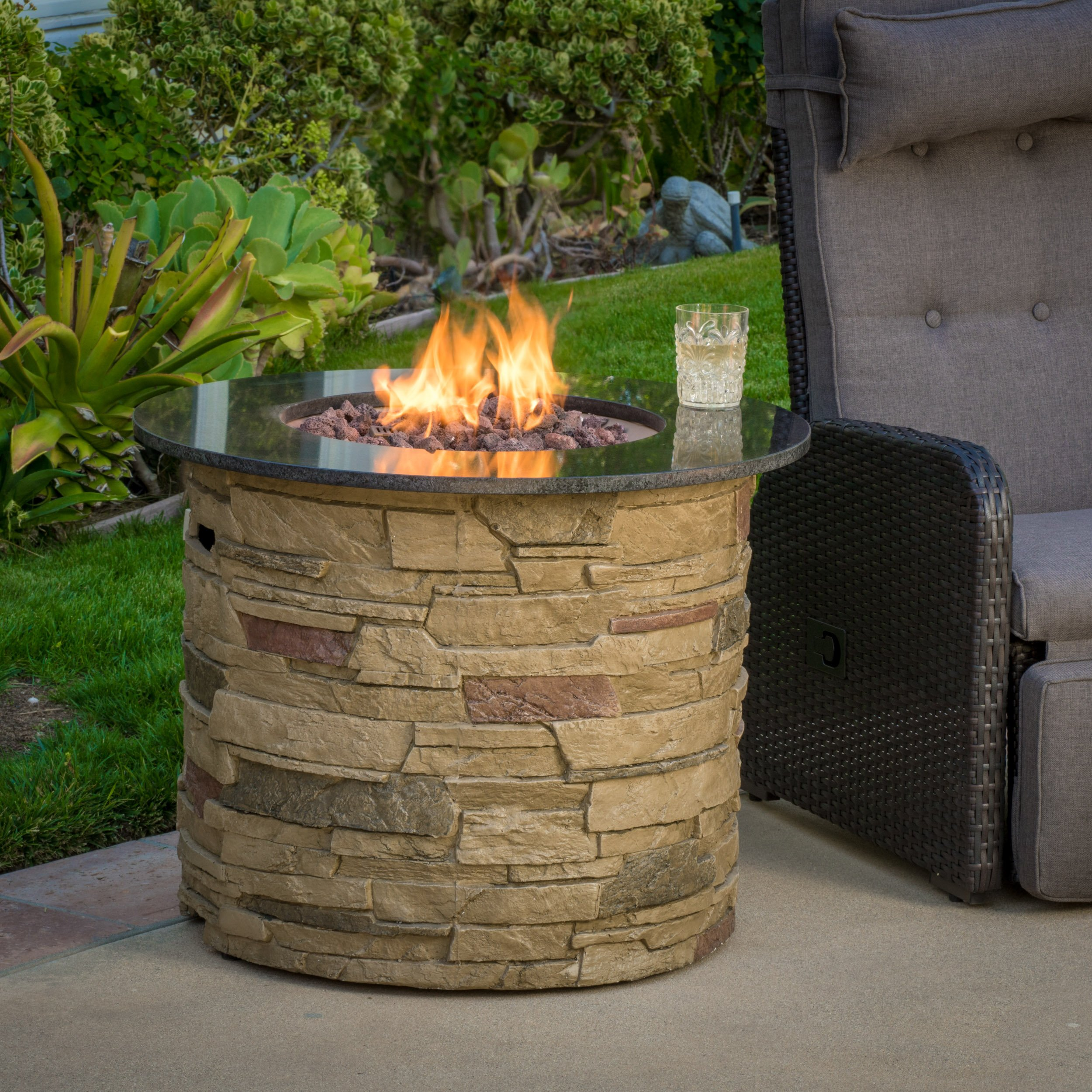 Christopher Knight Home 296658 Rogers Round Stone Fire Pit Table, 32'' Propane Gas Patio Heater with Lava Rocks