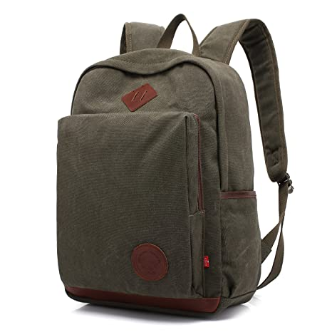 7db73cb81ada AUGUR Unisex Vintage Backpack Canvas Rucksack Bookbag College School Casual  Daypack laptop Bag for Ourdoor Travel Camping Hiking(army green)   Amazon.co.uk  ...