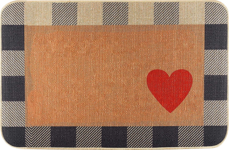 GROBRO7 Love Heart Doormat Linen Checker White and Black Mother's Valentine's Day Carpet Rubber Non-Slip Reusable Entrance Rug Floor Door Mat Supplies Home Decor Indoor Outdoor Mats 22.8'' x 14.9''