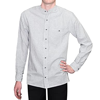 91e21792c Lee Valley Men's Irish Collarless Linen Grandad Shirt LN8 Navy/White Stripe  at Amazon Men's Clothing store: