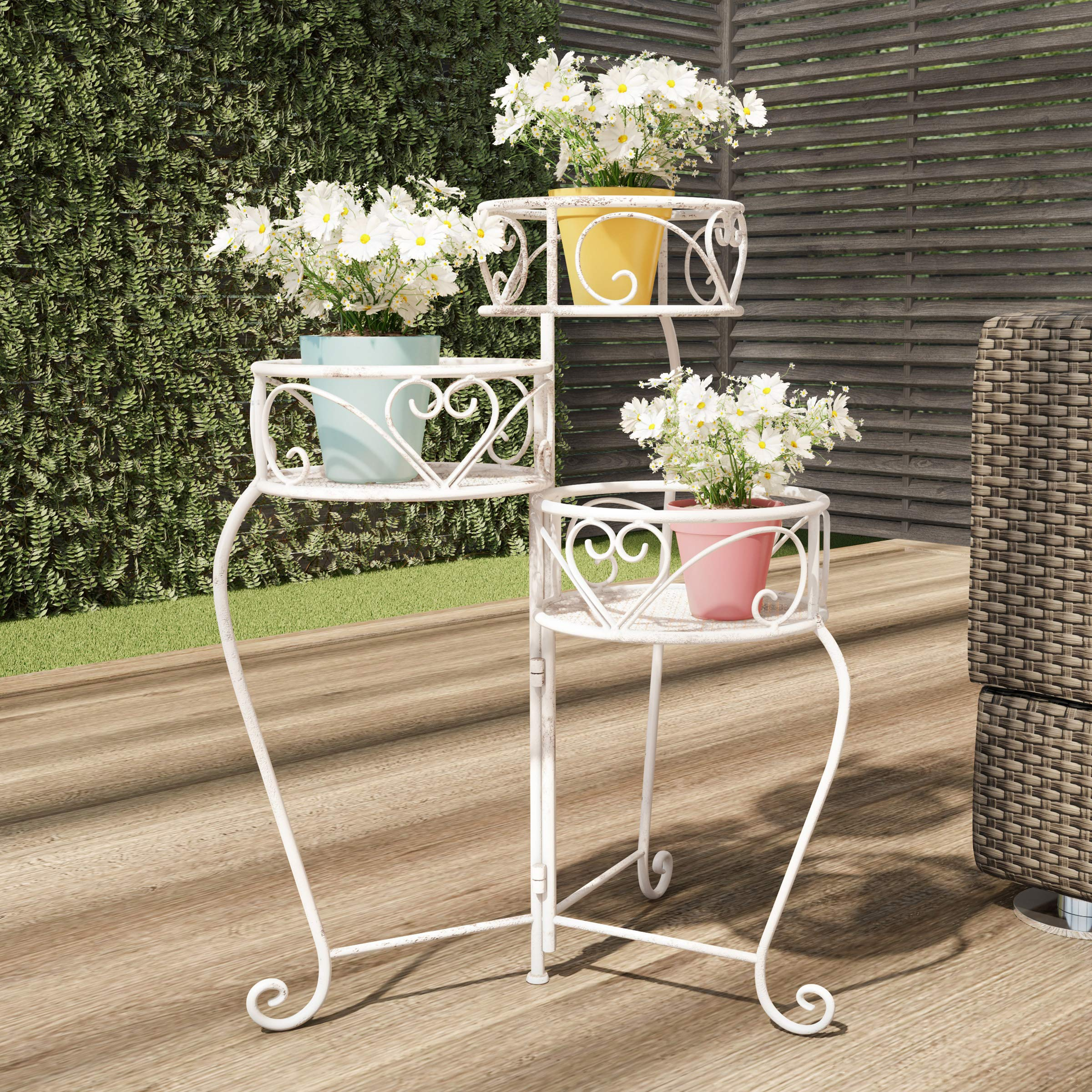 Pure Garden 50-LG1159 Plant Stand - 3-Tier Indoor or Outdoor Folding Wrought Iron Metal Home and Garden Display with Staggered Shelves (Antique White)