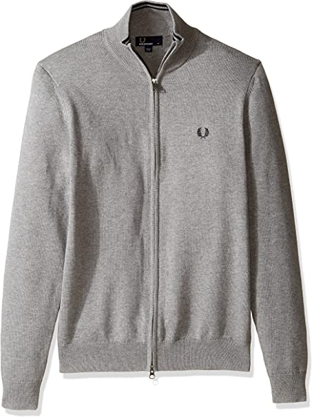 Fred Perry Men's Classic Cotton Zip Cardigan, Steel Marl, X