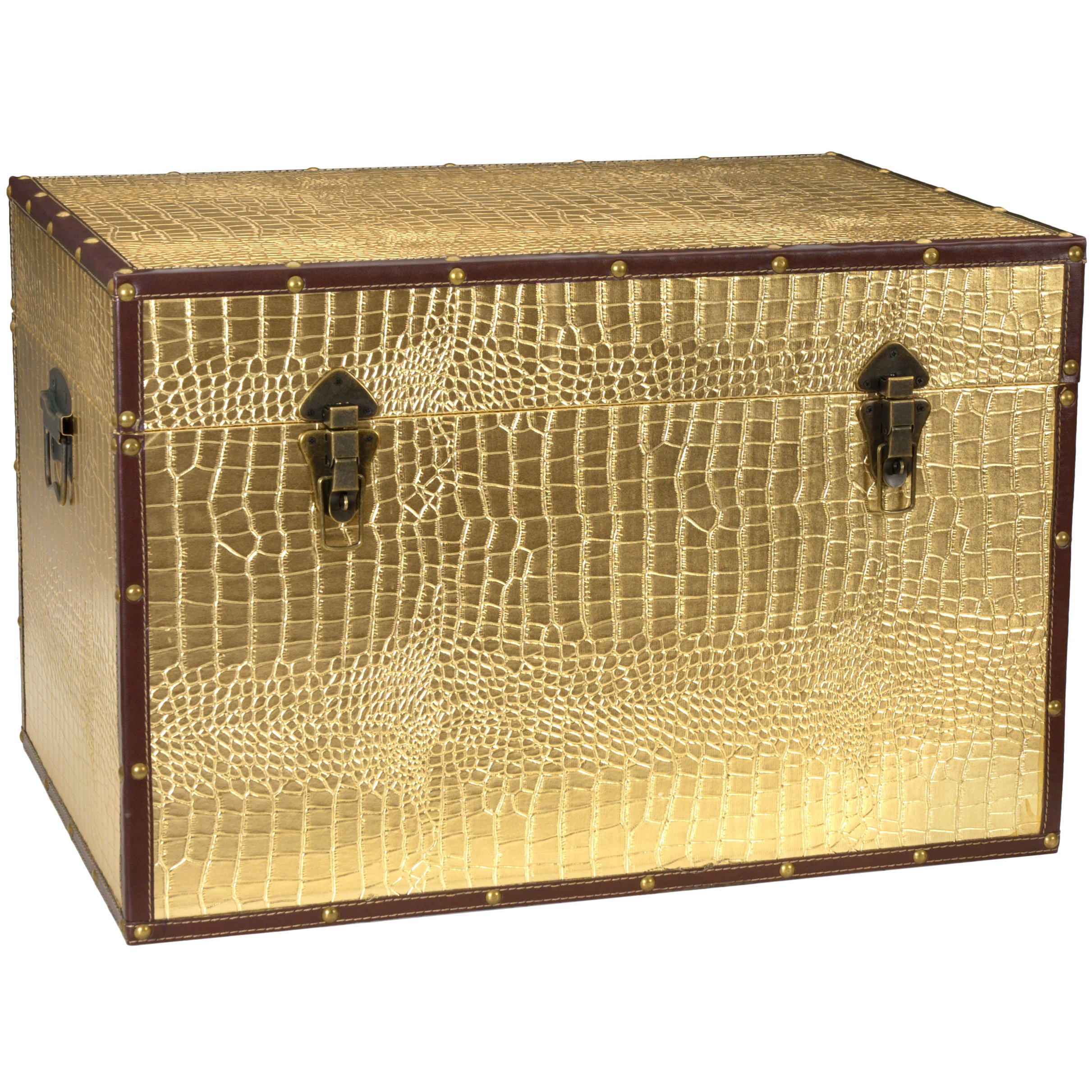 Oriental Furniture Faux Leather Gold Crocodile Trunk