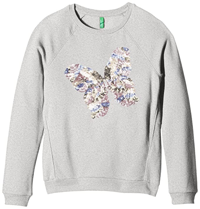 United Colors of Benetton Sweat Butterfly Sequin, Sudadera para Niñas, Gris 6 (Talla