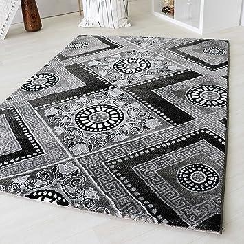 Designer Kurzflor Teppich In Schwarz Mit Viereck Versace Muster Design  Modern Vintage Barock Style Wohnzimmer Teppiche