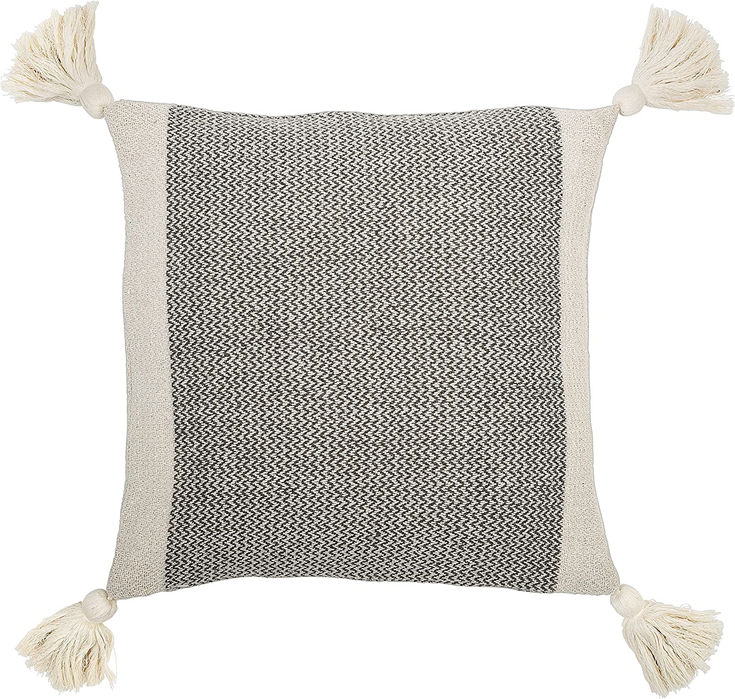 Amazon Com Bloomingville A40110195u1 Grey Cream Corner Grey Square Cotton Blend Pillow With Tassels 18 Home Kitchen