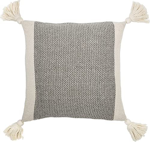 Bloomingville A40110195U1 Grey Cream Corner Grey Square Cotton Blend Pillow