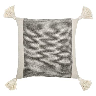 Bloomingville Grey Square Cotton Blend Pillow with Tassels, 18