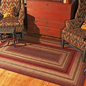 "Cider Barn Premium Jute Braided Area Rug by Homespice, 20"" x 30"" Rectangular Red - Gold - Brown, Reversible, Natural Jute Yarn Rustic, Country, Primitive, Farmhouse Style - 30 Day Risk Free Purchase"