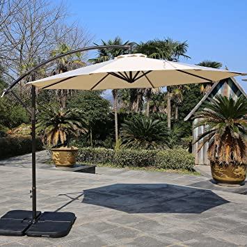 Lovely Sumbel Outdoor Living 10 Ft Patio Umbrella Offset Hanging Umbrella Outdoor,  Beige