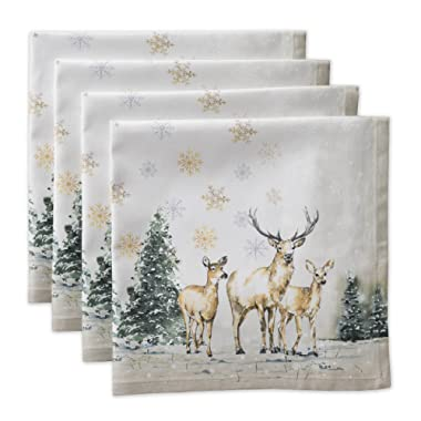 Maison d' Hermine Deer in The Woods 100% Cotton Set of 4 Napkins 20 Inch by 20 Inch.