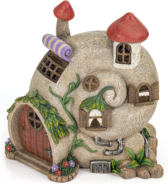 VP Home Snail Shell Fairy Cottage Solar Powered LED Outdoor Decor Garden Light