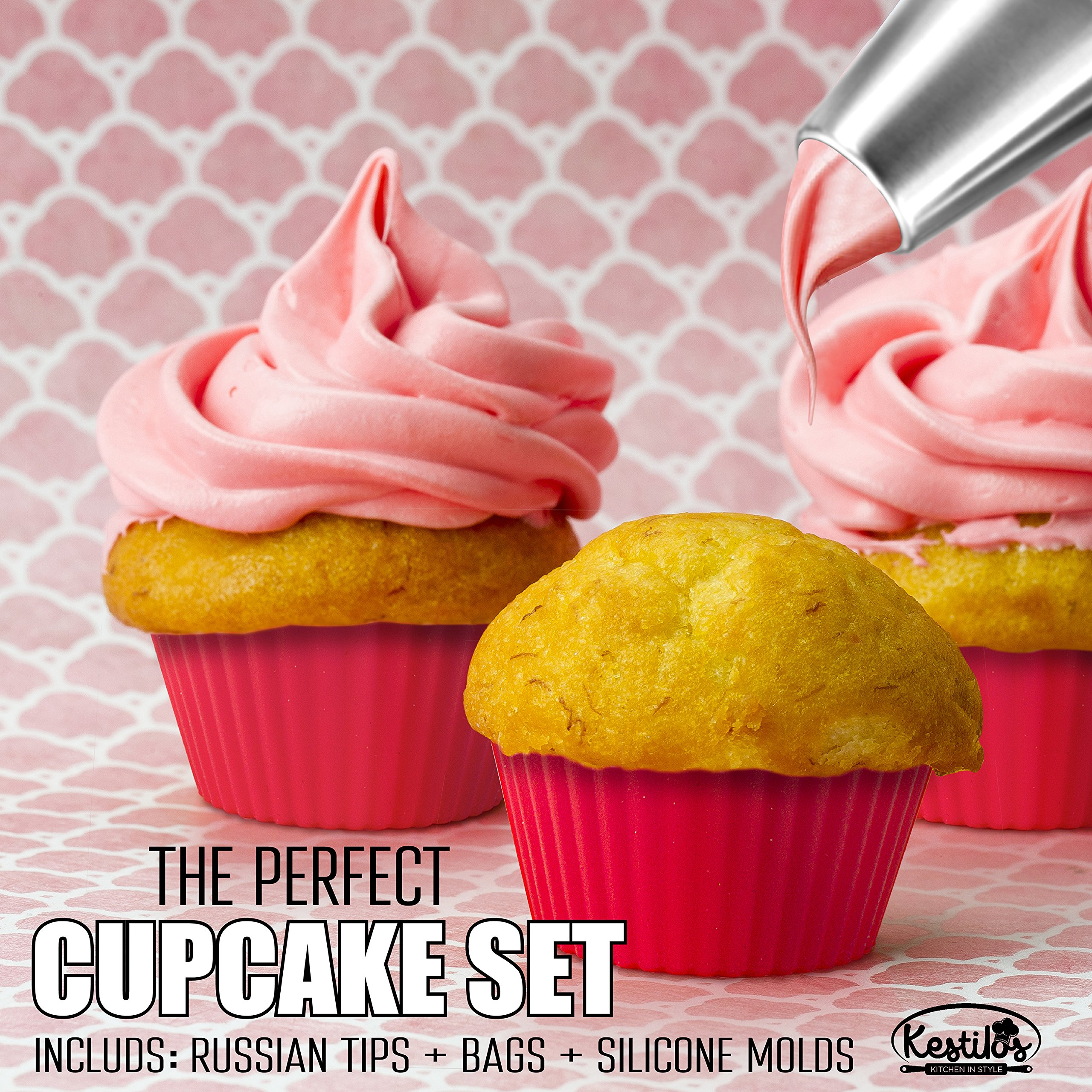 Russian Piping Tips Set By Kestilos – 7 Cake & Cupcake Decorating Icing Nozzles, A 3 Color Coupler, 5 Disposable Pastry Bags & 12 Silicon Cupcakes Molds