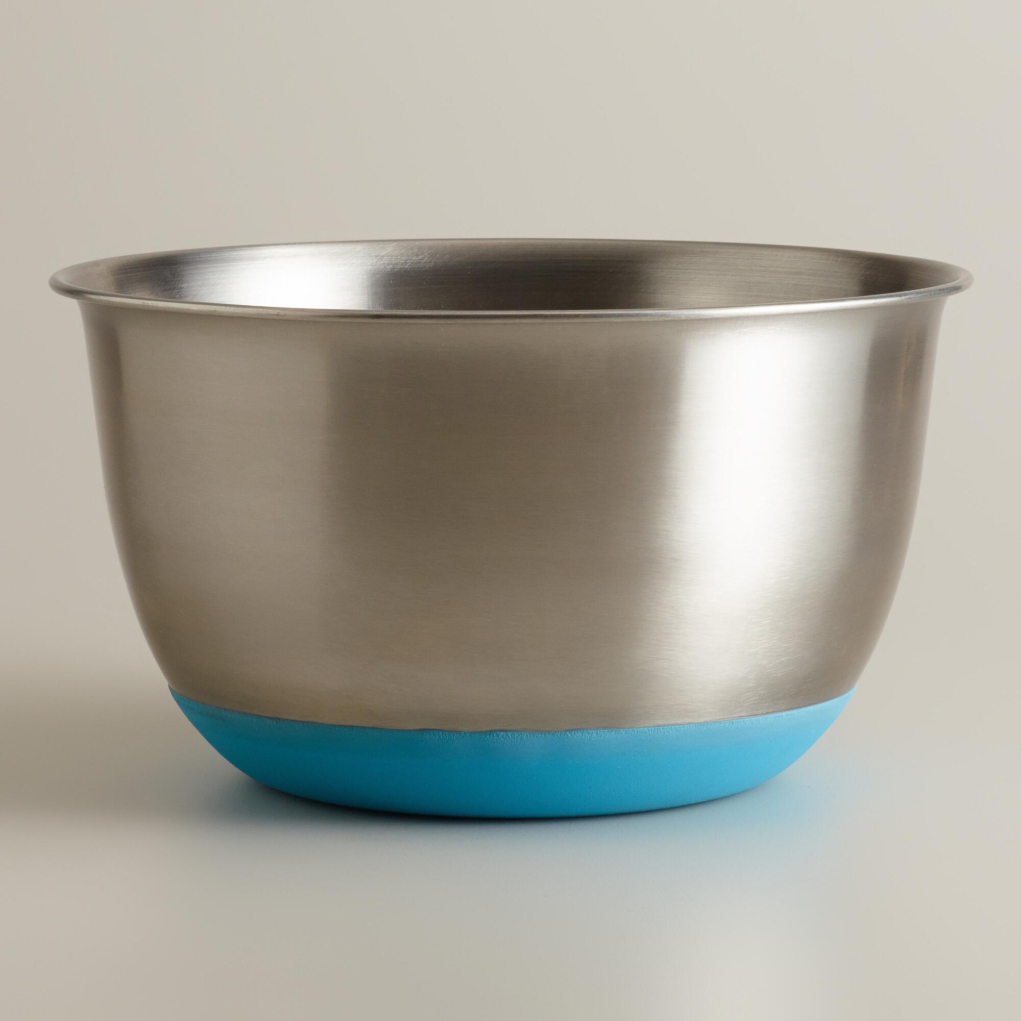 Aqua 5-Quart Stainless Steel Mixing Bowl | World Market