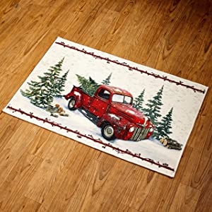 Vintage Country Red Pick Up Truck Rug - Kitchen and Home Entryway Decoration
