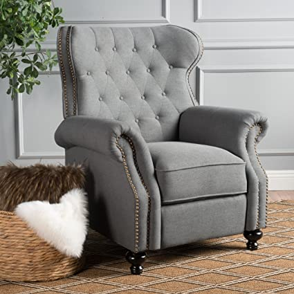 Beau Waldo Tufted Wingback Recliner Chair(Charcoal)