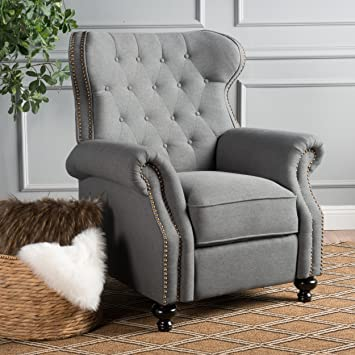 Amazon Waldo Tufted Wingback Recliner Chaircharcoal Kitchen