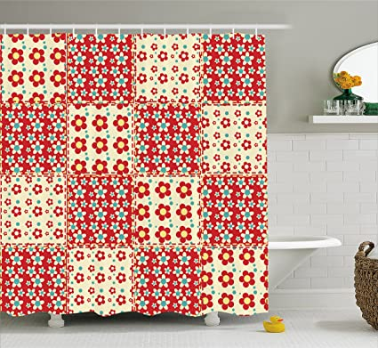 Cabin Decor Shower Curtain By Ambesonne Traditional Quilt Pattern With Spring Garden Flowers Daisies