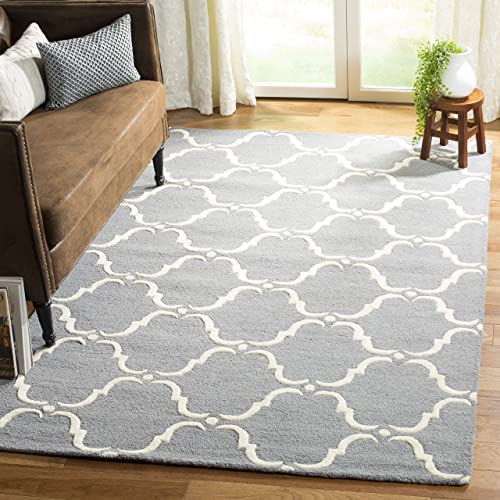 Safavieh Cambridge Collection CAM703D Handcrafted Moroccan Geometric Dark Grey and Ivory Premium Wool Area Rug 6 x 9