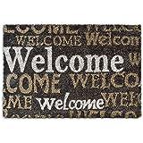 """Relaxdays – Felpudo """"Welcome"""" para la entrada de su hogar hecho de fibras de coco y PVC con medidas 40 x 60 cm antideslizante elemento decorativo, color marrón oscuro"""