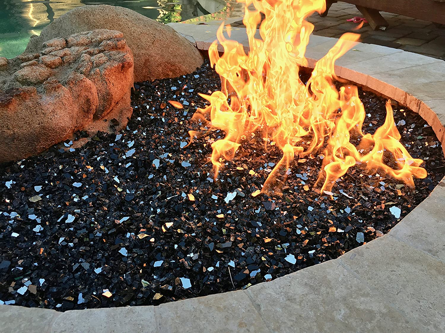Black Reflective 1/4' Fire Pit Fire Glass 10lbs