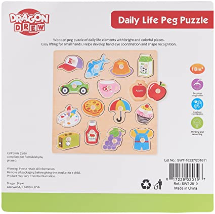 Amazon.com: Wooden Daily Peg Puzzle – Food – Transportation ...