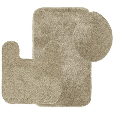 Maples Rugs Bathroom Rugs Colorsoft 3pc Non Slip Washable Bath Mats & Toilet Lid Cover Set [Made in USA] Soft & Quick Dry, Clay Beige