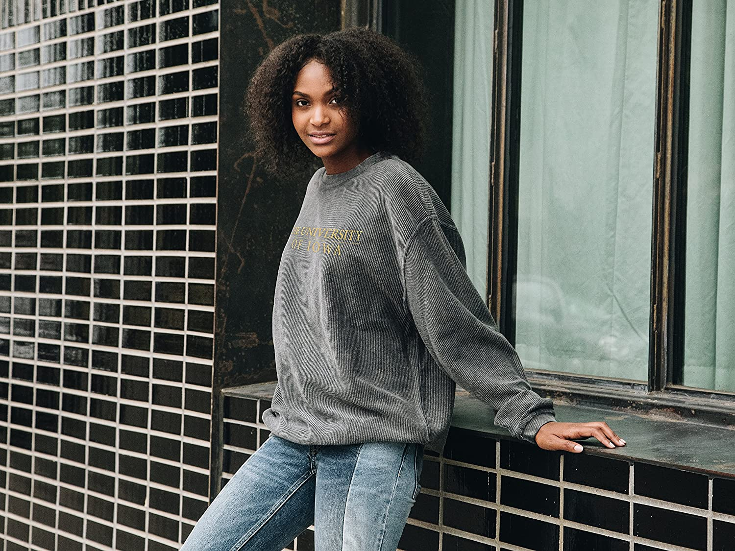 Charcoal chicka-d Womens Corded Sweatshirt Small