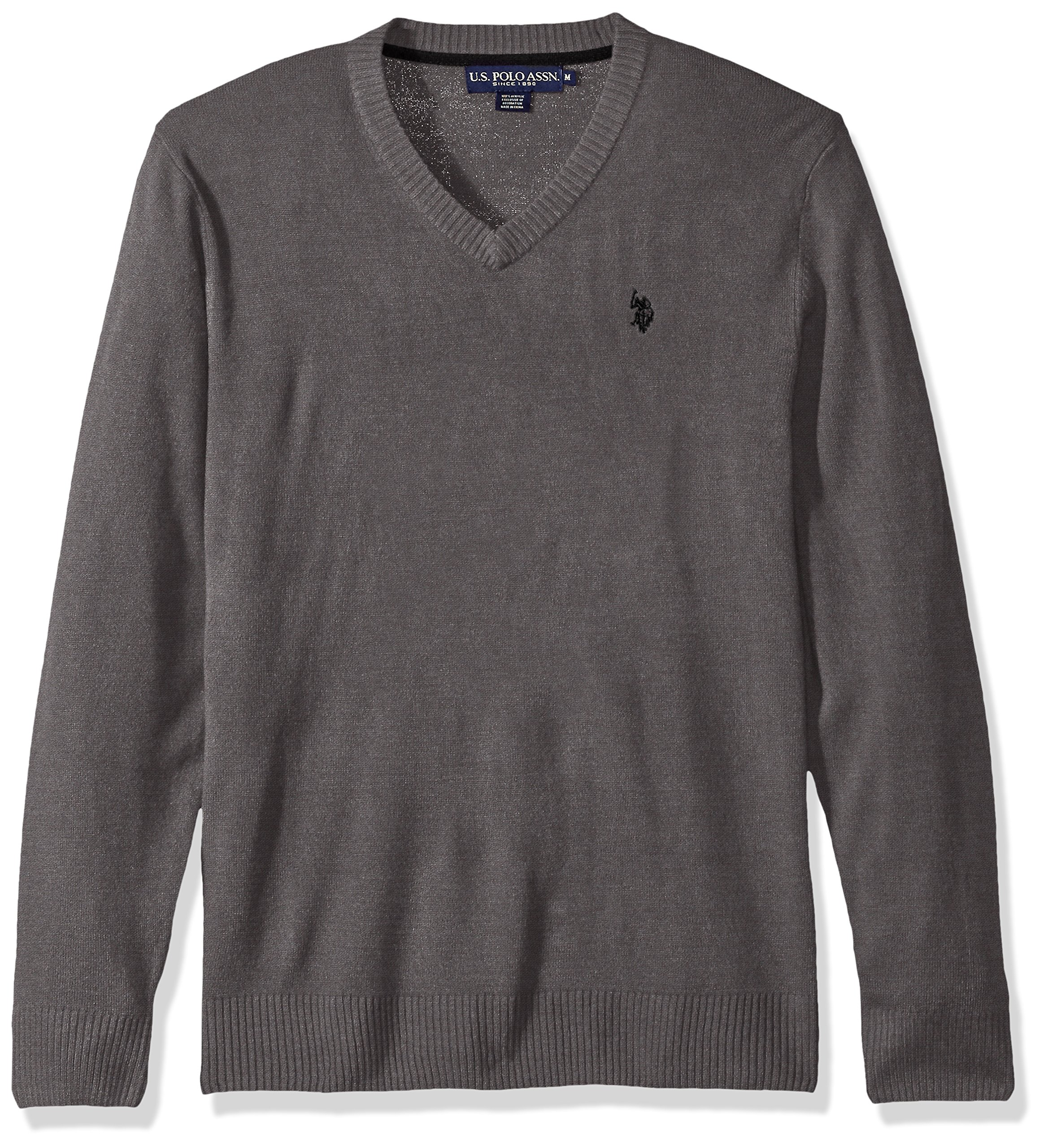U.S. Polo Assn. Men's Solid V-Neck Sweater, Iron Heather, X-Large